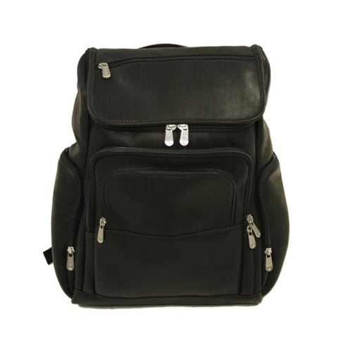 Piel Leather Multi-Pocket Laptop Backpack, Black, One Size