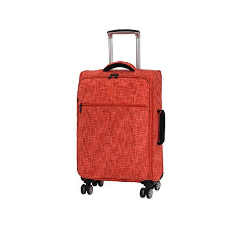 "it luggage 21.5"" Stitched Squares 8 Wheel Lightweight Expandable Carry-on, Orange"