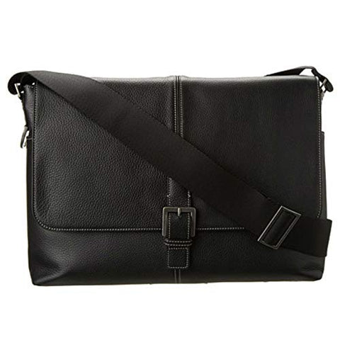 Boconi Tyler Tumbled Single Buckle Leather Messenger in Black w/ Khaki