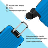 "Murtisol 4 Pieces ABS Luggage Sets Hardside Spinner Lightweight Durable Spinner Suitcase 16"" 20"" 24"" 28"", 4PCS Blue"