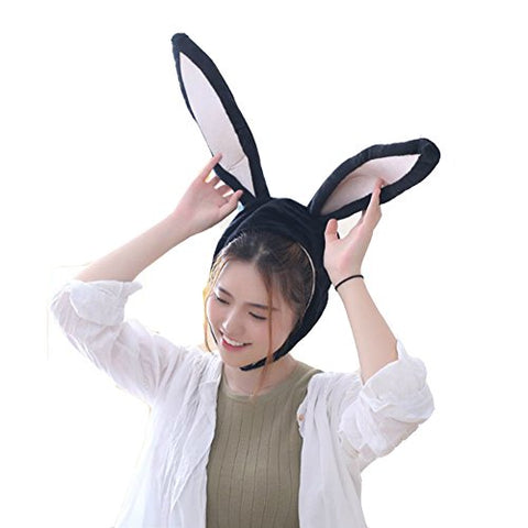 BOBILIKE Plush Fun Bunny Ears Hood Women Costume Hats Warm, Soft and Cozy, Black