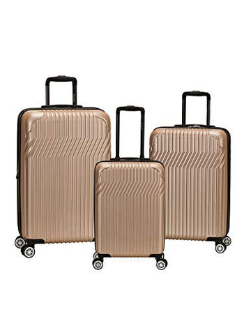 Rockland Pista 3 Piece Abs Non-Expandable Luggage Set, Champagne