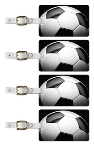 Tag Crazy Soccer Premium Luggage Tags Set Of Four, Green, One Size