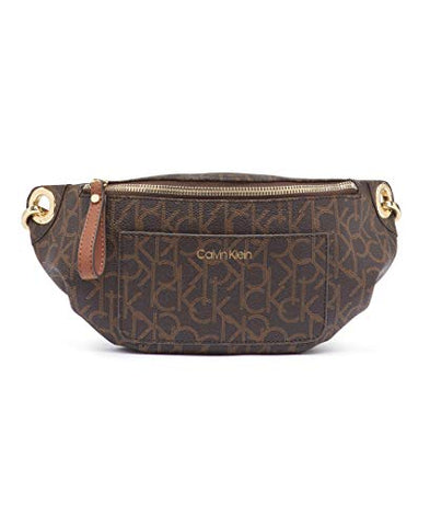 Calvin Klein Sonoma Signature Monogram Belt Bag, brown/khaki/luggage saffiano