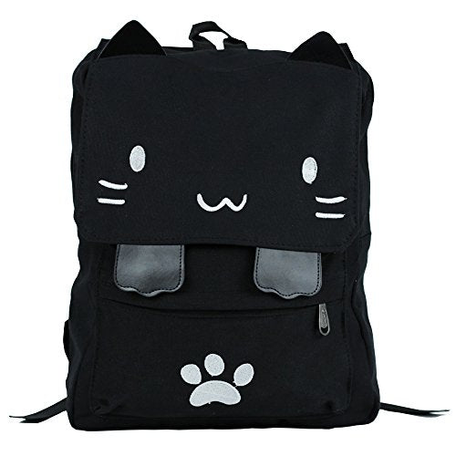 Black College Cute Cat Embroidery Canvas School Laptop Backpack Bags For Women Kids Plus Size Japanese Cartoon Kitty Paw Schoolbag Ruchsack Girls Boys Outdoor Accessories Daypack Bookbag (01White)