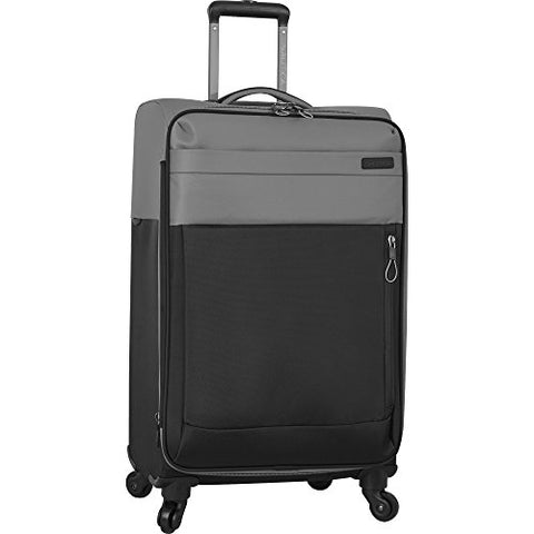 Nautica Harpswell 24 Inch Luggage Expandable Spinner, Grey/Black