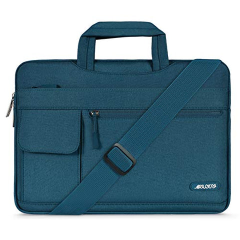 MOSISO Laptop Shoulder Bag Compatible 2018 New MacBook Air 13 A1932 Retina Display/MacBook Pro 13 A1989 A1706 A1708 USB-C 2018-2016/Surface Pro 6/5/4/3, Polyester Flapover Briefcase Sleeve, Deep Teal