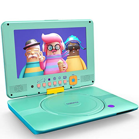 "COOAU Portable DVD Player Upgraded 12"" with HD Swivel Screen, Support All Region & Full DVD Format Discs, 1080P Video Files. Front Control Button and IR Signal, Battery Indicator, Powder Blue"