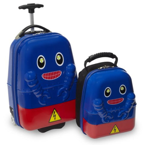 Travel Buddies Rusty Robot Luggage, Blue, Red, Yellow