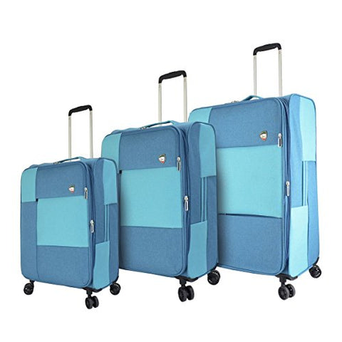 Mia Toro M1134-03pc-blu Italy Vasto Softside Spinner Luggage 3pc Set, Blue