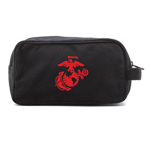 U.S. Marine Corps Semper Fidelis Canvas Shower Kit Travel Toiletry Bag Case in Black & Red