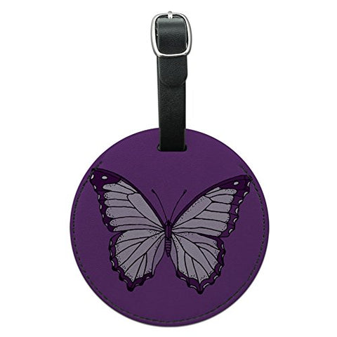 Graphics & More Purple Butterfly Round Leather Luggage Id Tag Suitcase Carry-on, Black