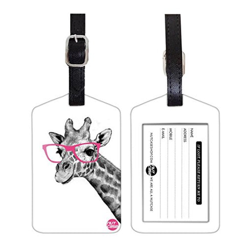 Nutcase Travel Baggage Set Of 2 Pu Leather Tags Giraffe One Size Multi-Colour