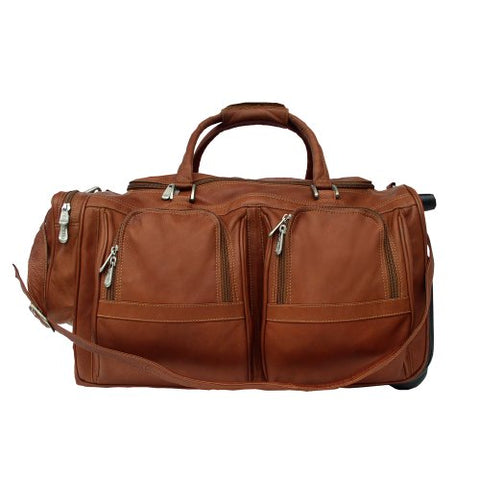 Piel Leather Duffel with Pockets On Wheels, Saddle, One Size
