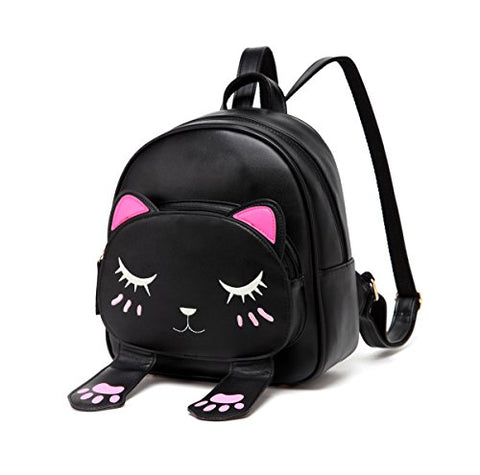 Diomo Women Kids Backpack For Girls Satchel School Book Bag Cute Cat Travel Daypack (Black)