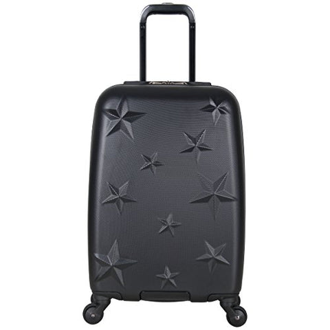 "Aimee Kestenberg Women'S 20"" Embossed Star Abs 4-Wheel Upright Carry-On Luggage, Black"