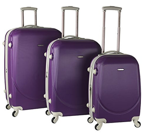 "TPRC 3 Piece ""Barnet Collection"" Hardside Expandable Spinner Luggage Set, Purple Color Option"