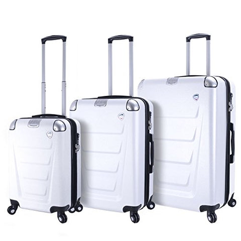Mia Toro Italy Accadia Hardside Spinner Luggage 3 Piece Set, White