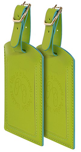 Luggage Tags. Set of 2. Zenfully Lime. Highly Visible For Luggage.