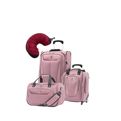 Travelpro Maxlite 5 | 4-PC Set | Soft Tote, Underseater & Int'l Carry-On Rollaboard with Travel Pillow (Dusty Rose)