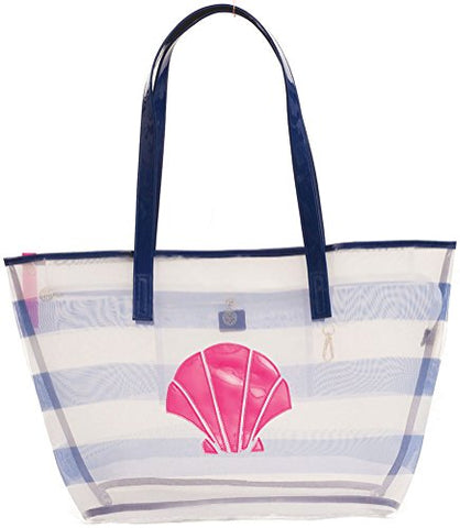 Macbeth Collection Mesh Shell Beach Tote Bag Blue Stripe One