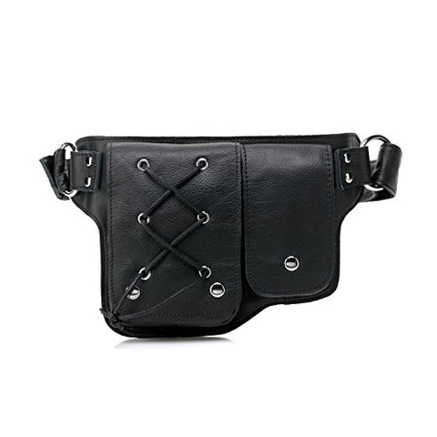 Vicenzo Leather Yvette Leather Waist Pack (Black)