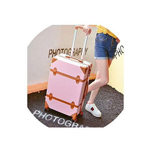 Classical Retro Rolling Luggage With Cosmetic Bag For Women Travel Carry On Trolley Suitcase,Pink2,20