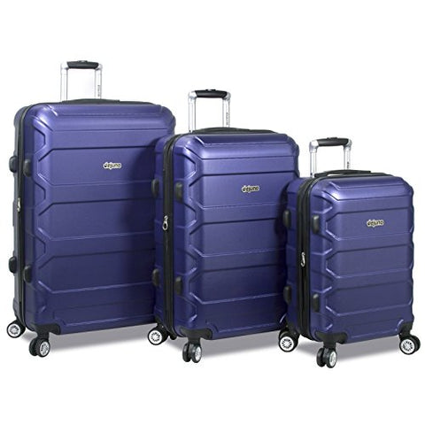 Dejuno Logan 3-Piece Hardside Spinner Combination Lock Luggage Set, Navy