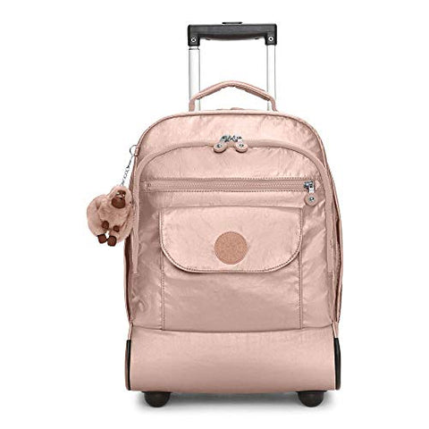 Kipling Sanaa Metallic Rolling Backpack Rose Gold Metallic