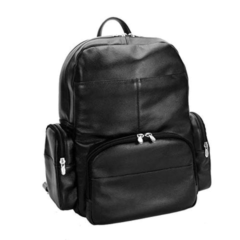 "McKlein, S Series, Cumberland, Pebble Grain Calfskin Leather, 15"" Leather Dual Compartment Laptop Backpack, Black (88365)"