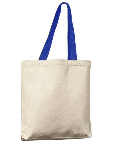 Ultraclub 8868 Uc Canvas Tote - Natural/Royal - One