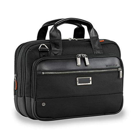 Briggs & Riley Small Expandable Brief Briefcase Black One Size