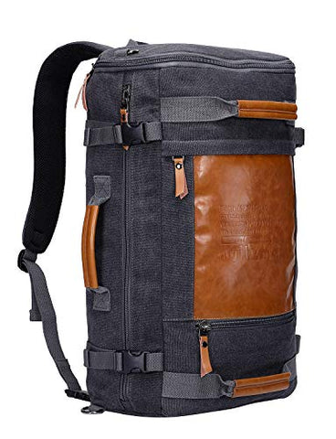 WITZMAN Men Vintage Canvas Rucksack Travel Duffel Backpack Retro Hiking Bag 2033 (19 inch Black)
