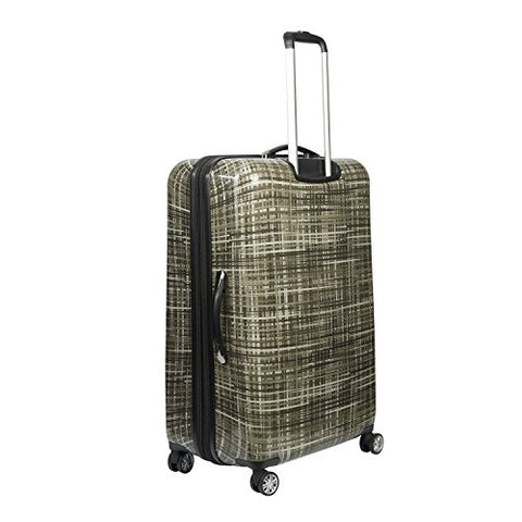 ful Luggage Woven 20 Inch Expandable Spinner Rolling Luggage Suitcase, Hard Case, Gray