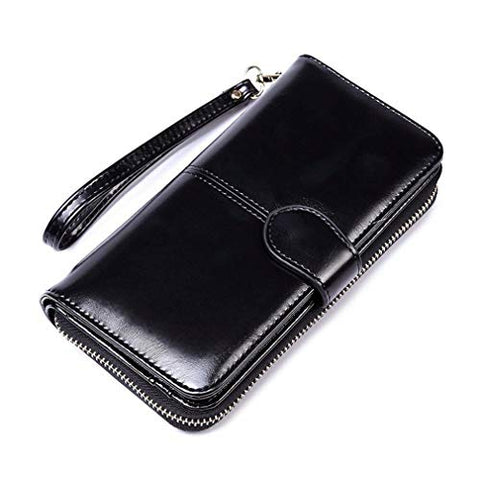 Oil Wax Leather Retro Large Capacity Clutch Bag Multifunction Mobile Phone Bag N (Color - Black)