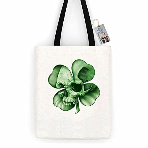 Skull Clover ShirtCotton Canvas Tote Bag Day Trip Bag Carry All