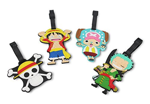 Finex Set of 4 - One Piece Straw Hat Pirates Travel Luggage Tags Bag Tag with Adjustable Strap