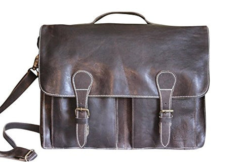 Sharo Leather Bags Soft Leather Laptop Messenger Bag and Brief (Very Dark Brown)