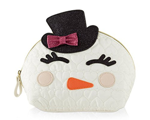 Betsey Johnson Snowman Kitch Nylon Travel Cosmetic Case Pouch - Cream Multi