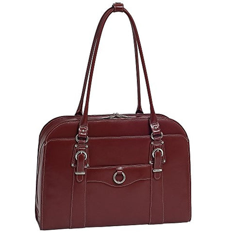"McKlein, W Series, Hillside, Top Grain Cowhide Leather, 14"" Leather Ladies' Laptop Briefcase, Red (96526)"