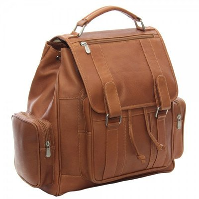 Piel Leather Double Loop Flap-Over Laptop Backpack, Saddle, One Size