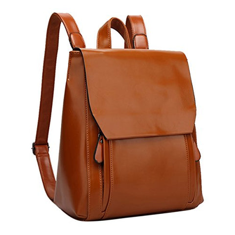 ABage Women's Backpack Purse Vintage Faux Leather Daypack College School Backpack, Brown