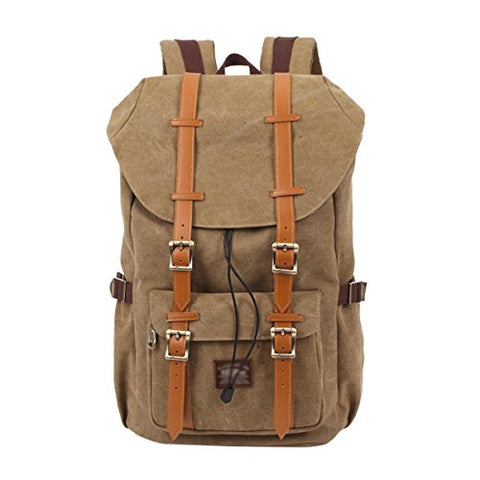 ABage Unisex Canvas Backpack Large Travel Hiking Outdoor Laptop College Backpack, Khaki