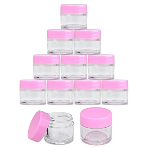 Beauticom High-Graded Quality 7 Grams/7 ML (Quantity: 12 Packs) Thick Wall Crystal Clear Plastic LEAK-PROOF Jars Container with PINK Lids for Cosmetic, Lip Balm, Lip Gloss, Creams, Lotions, Liquids