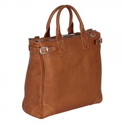 Piel Leather Cross Body Traveler Tote, Saddle