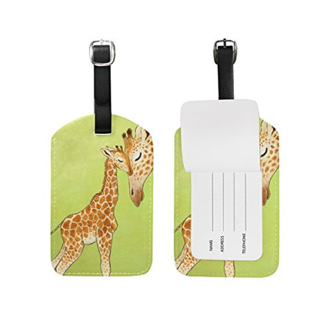 Leisisi Two Giraffes Travel Luggage Tags Suitcase Luggage Bag Tags, Travel Id Bag Tag Airlines