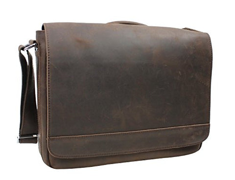 "Vagabond Traveler 15"" Cowhide Leather Casual Messenger Bag With Top Lift Handle L56. Distress"