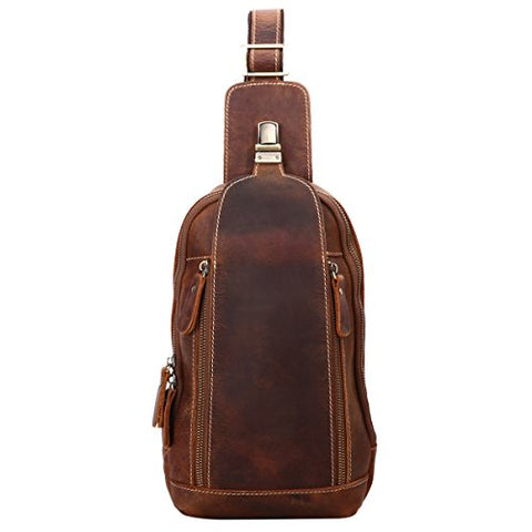 Leathario Men'S Leather Sling Bag Chest Bag One Shoulder Bag Crossbody Bag Backpack For Men