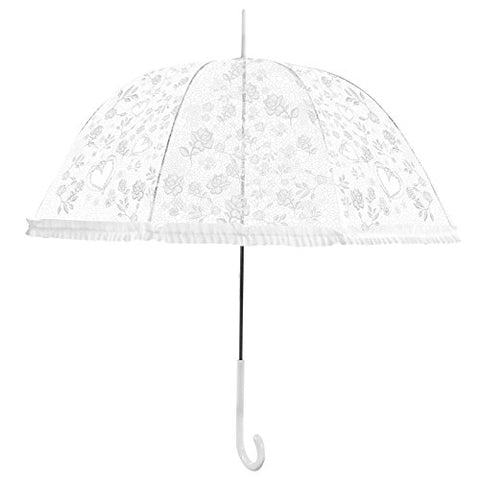 Becko White Stick Umbrella / Flower And Heart Pattern Clear Canopy Bubble Umbrella / Transparent