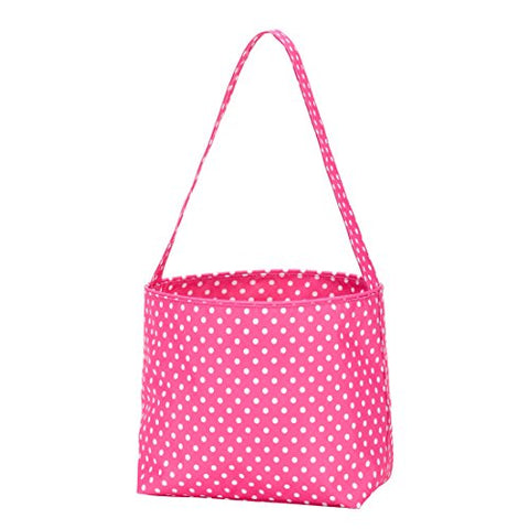 Large Fabric Bucket Tote Bag -Children'S Toys- Easter - Babycan Be Personalized (Pink Polka Dots)